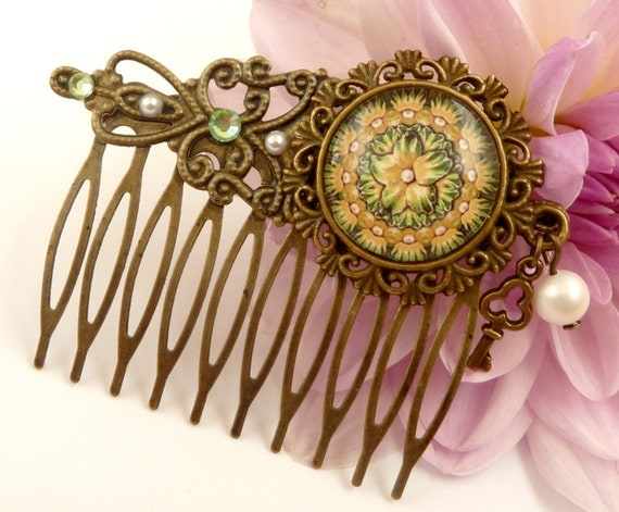 Green Floral Pattern Hair Comb from Etsy