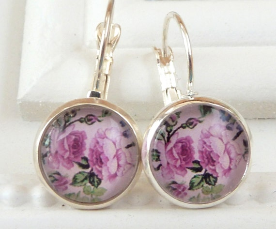 Purple Pink Floral Earrings  Schmucktruhe