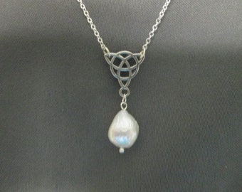 Celtic Knot Freshwater Pearl Drop Necklace