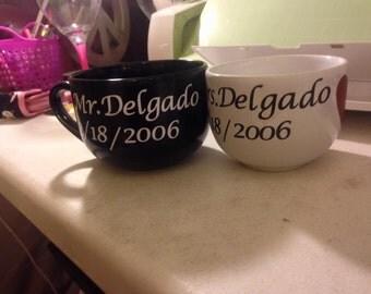 Big personalized Mr.and Mrs. coffee mug set
