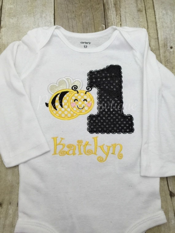 Bumble bee shirt for st birthday embroidered with name