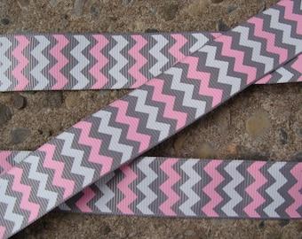 """Chevron Ribbon pink and gray ribbon Zigzag Ribbon chevron ribbon Hair Bow Ribbon 7/8"""" 3yards hair bow supplies"""