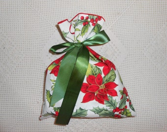 "Fabric Poinsettia Gift Bag wrap, red flower on cream, Small 9.75"" x 12"" Reduce Reuse Recycle, cloth gift wrap bags Christmas, reusable - Men"
