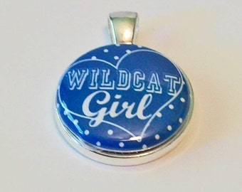 Blue and White Wildcat Girl Kentucky Inspired Round Silver Pendant