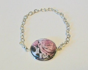 Vintage Style Pink Roses Silver Chain Fashion Bracelet