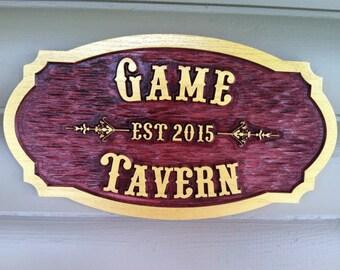 Wood Tavern / Pub Sign - Customized Carved Oak Tavern /pub /Bar Sign