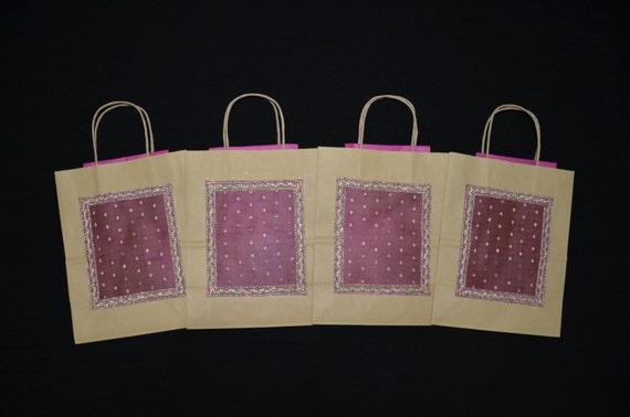 Hindu Wedding Gift Bags : Gift Bags, Indian Wedding Gift Bags, Kraft Gift Bags, Pink Organza ...