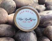 PEP ME UP Pucker Pot, Peppermint Essential Oil and Eucalyptus Essential oil Lip Balm Tin, Aromatherapy, Spa Gift, Beeswax Lip Balm