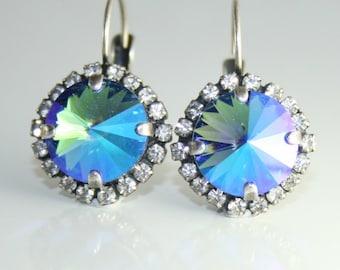 blue crystal earrings,crystal earrings,sapphire blue earrings,swarovski earrings,rivoli leverback earrings,sapphire crystal earrings,rivoli