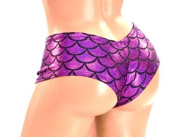 FUCHSIA Mermaid Scale Lowrise Ultra Cheeky Booty Shorts Plurmaid Cheekies -150028