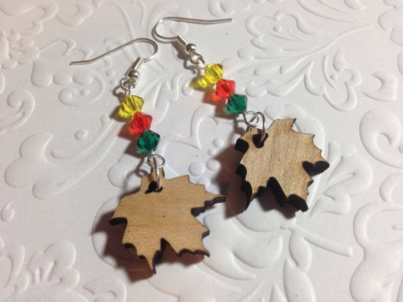 https://www.etsy.com/listing/206361178/maple-leaf-earrings-wood-charm-yellow