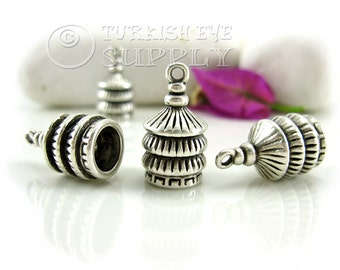 4 Pc Tassel Cap, Antique Silver Plated End Cap, Cone Bead Caps Turkish Jewelry