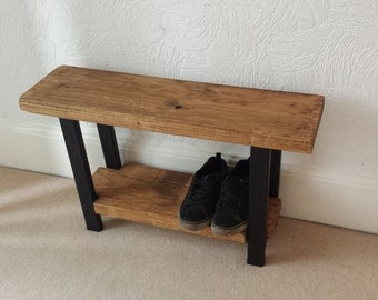 Industrial style rustic shoe rack bench seat great for hallway or bathroom