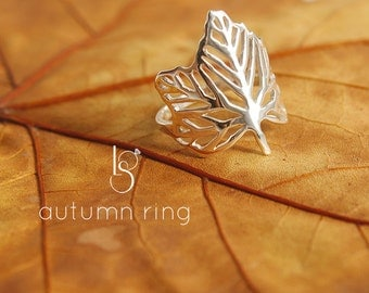 Handmade Silver Autumn Ring. Leaf ring. Maple ring. Silver ring.