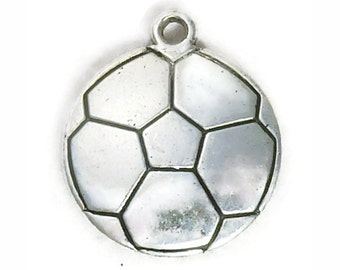 5 Silver Soccer Charm 22x19mm by TIJC SP0982
