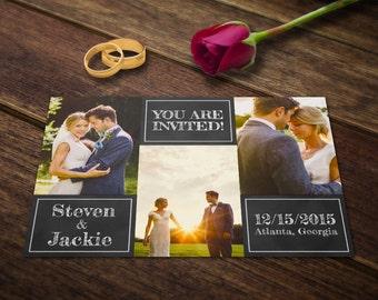 Wedding Invitation Card Template - Photoshop Templates - Photography Postcard PSD - Printable Photo Personalized & Custom WT019