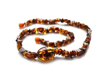Short brown amber necklace for women - Amber necklace with healing amber beads - Baltic amber necklace jewelry - 2011