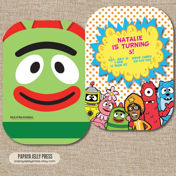 items similar to yo gabba gabba birthday invitation with foofa, Birthday invitations