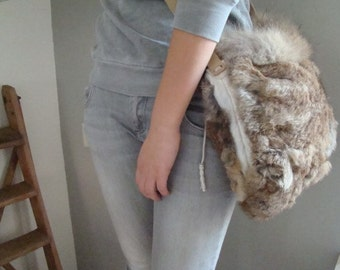 SOLD OUT Eco fur bag women bag recycled fur Italian leather winter mode statement. Gift for her. From JJePa