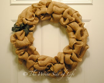 Burlap Bubble Wreath with Bow Accents or Candy Cane Pattern