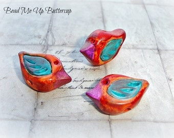 Abstract Orange, Purple & Turquoise Hand Painted Polymer Clay Birds