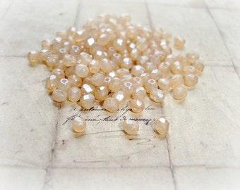 20 x 4 mm Peach Champagne Fire Polished Czech Glass Beads