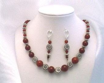 Carnelian and Carved Silver Disk 18 inch Necklace and Earrings Set.  One of a kind.  Free Shipping