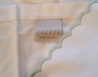 "Frette Italy Huge Body Pillow? Sham~ Mint Green Scallop Trim 64"" by 27"""