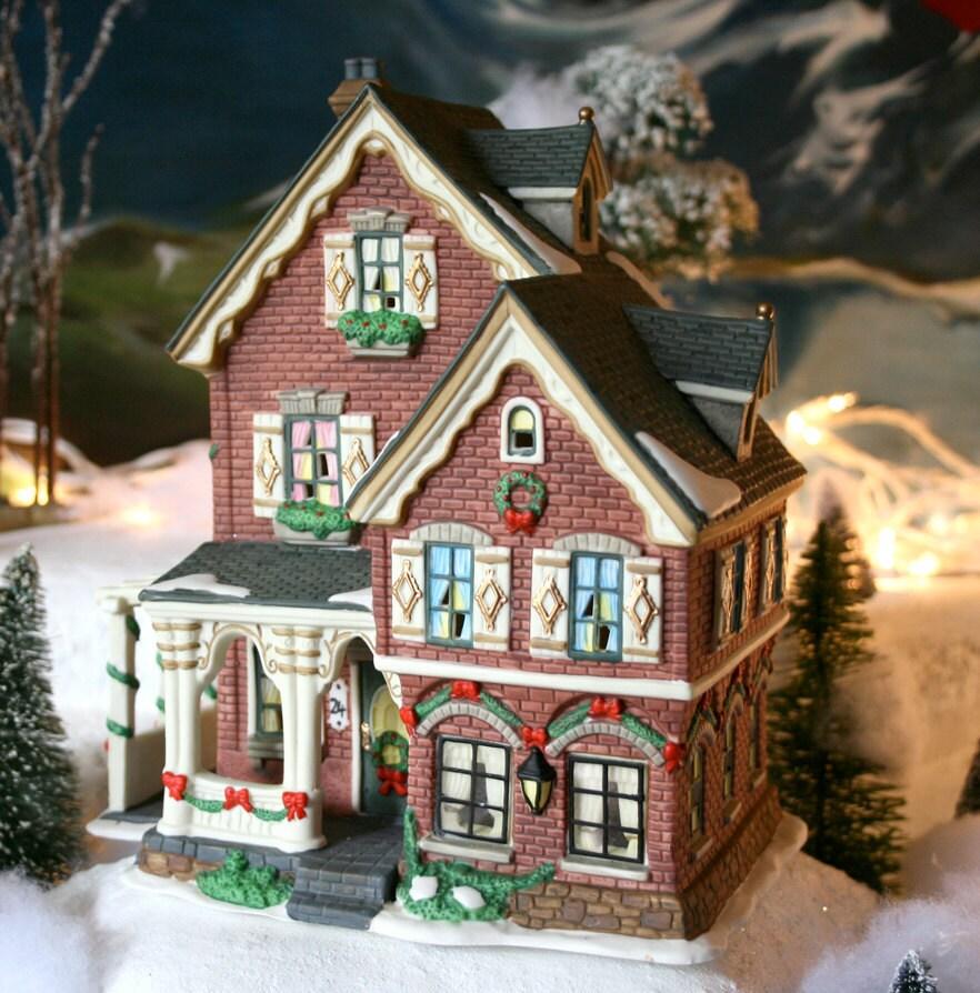 Christmas Decoration. Porcelain House For Xmas Village