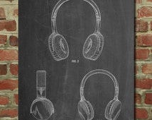 Beats Headphones Patent Poster, Recording Studio, Teen Room Art, Fashion Print, Teen Boy Gift,  PP612