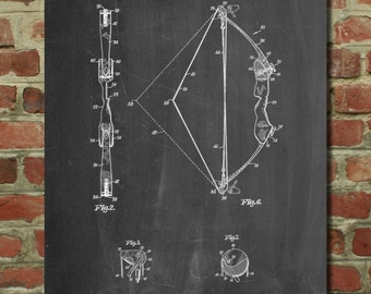 Archery Compound Bow Patent Poster, Hunting Gifts, Archer Poster, Archery Bow,  PP336