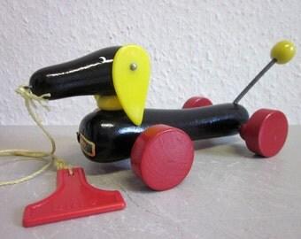 BRIO Sweden wooden toy dog by 80s vintage