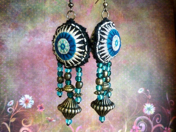 Tribal Hmong Textile Earrings