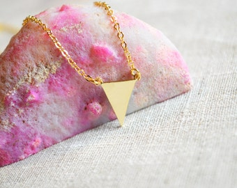 Gold geometric triangle necklace A-090