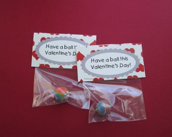 Have a Ball this Valentine's Day Valentine, Set of 10, with small bouncy balls