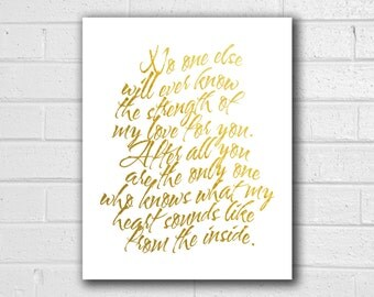 No One Else Will Ever Know Print - Strength of My Love - New Baby Gift - Baby Shower Gift - Gold Nursery Decor - Baby Shadow Box - Baby Book