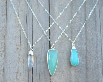 Quartz // Chalcedony // Jade Quartzite // 'Ocean Breeze' 18 Inch Sterling Silver Necklace // Layering Necklace