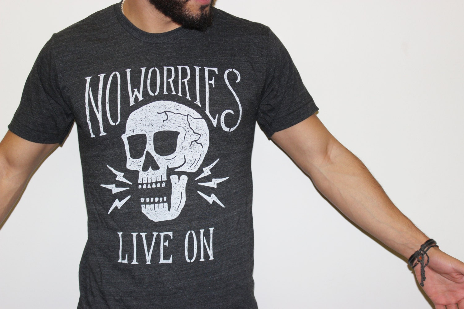No worries live on skull vintage unisex next level Next level printed shirts