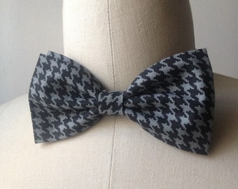Grey/Black Houndstooth Bowtie with Adjustable strap, Mens bowtie