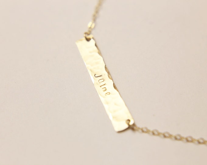 Personalized hammered name plate necklace EP021H