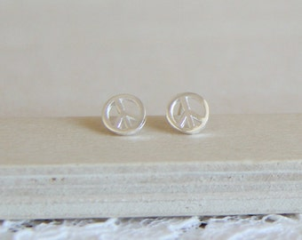 Sterling Silver Peace sign Ear posts. Everyday Earrings