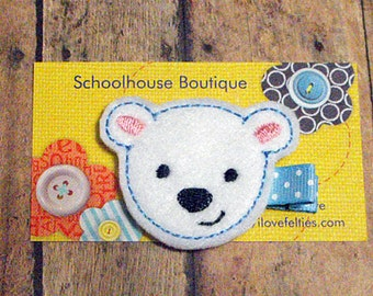 Polar Bear Felt Hair Clips, Feltie Hair Clip, felt clippie, felt hair bow, felt hair clip, party favor