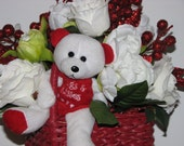 Valentine's Day Centerpiece red heart shaped basket filled with real looking white silk roses and peonies, red and white teddy bear