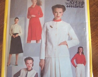 Simplicity 9717, Size 12, UNCUT misses, womens sewing pattern, blouse, pants, skirt, jacket, vest