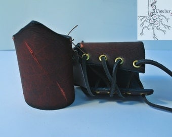 Burgundy and blue small leather bracer