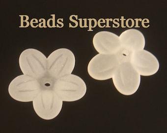 20 mm x 5 mm White Lucite Flower Bead - 10 pcs