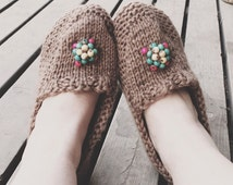 Beaded Moccasins PDF Knitting Pattern for Yarn; Moccasins for Women; Moccasins for Men; Handmade Moccasins; Easy Knitting Stitches