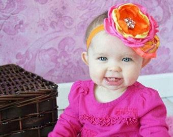 Pink and orange baby headband pink flower headband  orange flower headband photo prop flower headband birthday headband newborn headband