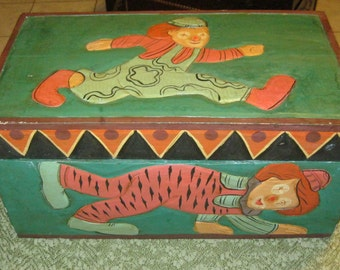 Children's Handmade Vintage Folk Art Wood Toy Box Carved and Painted Dogs and Clowns- Free Shipping in US