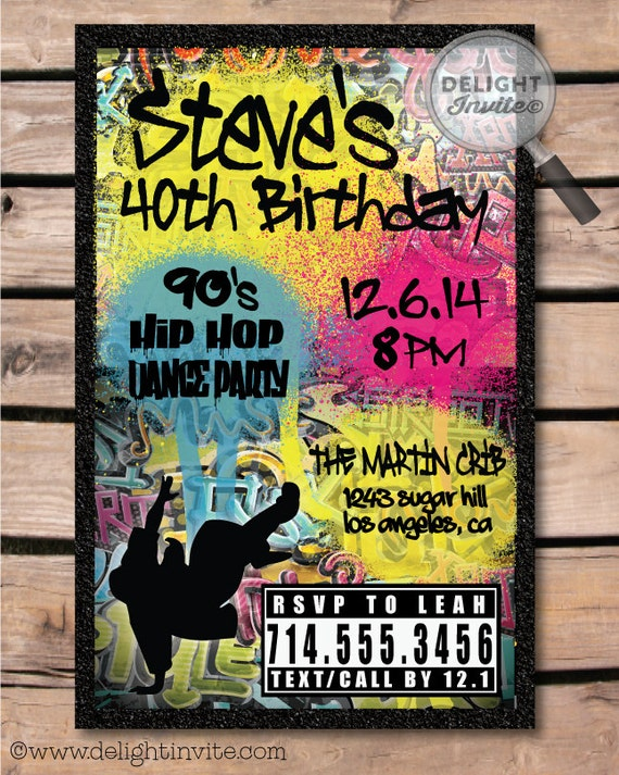 80 39 s 90 39 s hip hop graffiti birthday invitations by for Old school party decorations